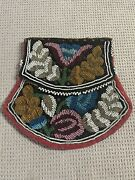 Antique 1890and039s Native American Northeast Woodlands Iroquois Floral Beaded Bag -c