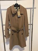Womanandrsquos Gibbsmooresl Wool Blend Trench Coat. Camel. Sz 12 Us.new W/tags