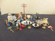 Rare Lot Misc Doll House Furniture Post Wwii Lionel Train People On Bench And More