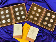 1977 Franklin Mint Good Luck Collections Sterling Silver And Bronze Medal Sets