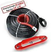 95ft X 3/8 Black Uhmwpe Winch Rope Recovery 20500 Lb + Red 10 Hawse Fairlead