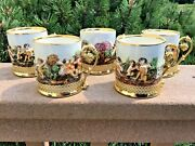 Capodimonte Demitasse Espresso Cups In Metal Holders Set Of 5 Hand Painted