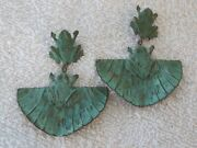 M2 Vintage Copper Frog On Lily Pad Dangle Pierced Earrings Green Patina 3 Long