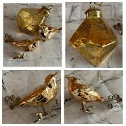3pc Lot Vintage Christmas Tree Ornaments Gold Glass Metal Clip On Love Dove Bird