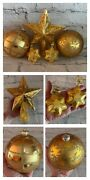 5pc Lot Vintage Christmas Tree Ornament Gold Glass Large Round Star Topper Metal