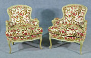 Pair Of Paint Decorated Velvet Upholstered French Louis Xv Bergere Chairs
