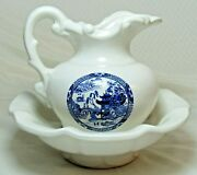 Mccoy Pottery Blue Willow Pitcher And Wash Basin Set Pagoda Oriental Scene Vintage