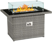 Gas Fire Pit Table, Blue Stone Wind Guard W/ Rain Cover, Black Tempered Glass