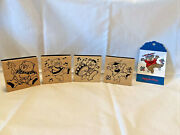 Lot Of 4 Dancing Musical Teddy Bears Rubber Stamps-tag-goose-flute-drum-cards