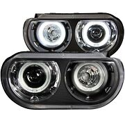 Anzo Black Dual Halo Projector Led Headlights Fits 2008-2014 Dodge Challenger