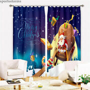 Merry Christmas Window Curtains Xmas Bedroom Thick Curtain Drapes 2 Panels