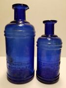 Lot Of 2 Cobalt S.s.staffordand039s Ink Hand Blown Pour Spout Master Ink Bottles