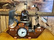 Vintage 1930's, United Ship Clock, 3 Flags, Model 811, Lights And Clock Work