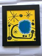 Joan Miro Signed Hand Painted Framed - Abstract On Canvas , Picasso Dali Era
