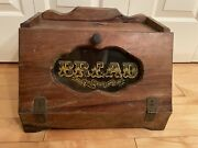 Vintage Collectible Classic Wooden Bread Box Glass Window