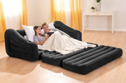 Inflatable Air Mattress Couch Pull Out Sofa Bed Blow Up Queen Size Futon Grey