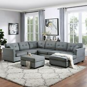 Sectional Sofa With Two Pillows U-shape Upholstered Couch Storage Ottoman