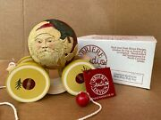 Briere Folk Art Roly-poly Pull Toy Old Fashioned Santa Ball And Cart 1988 Ltd. Ed