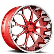 24 Azad Wheels Az99 Candy Red Milled With Chrome Ss Lip Rims