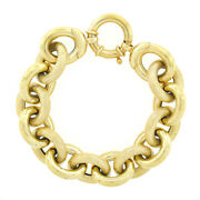 14k Yellow Gold 7 Large Alternating Textured Polished Cable Link Chain Bracelet