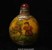 Old Chinese Colored Glaze Inner Painting Flower Boy Palace Snuff Bottle Statue