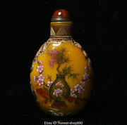 Old Chinese Colored Glaze Inner Painting Flower Vase Palace Snuff Bottle Statue