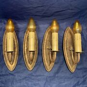 Set Of Four 4 Rare Antique Wall Sconces Beautiful Finish And Brass Arms 54d