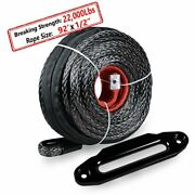 92and039 X1/2 Black Uhmwpe Towing Winch Rope 22000lbs + 10 Aluminum Hawse Fairlead