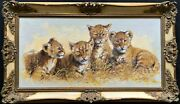 Exceptional And039pride Of Lion Cubsand039 Large Wildlife Oil Painting By And039silvia Duranand039