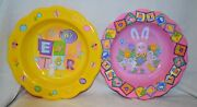Sets 5 Ct Mix Match Plastic Serving Dish Eggs Bunny Easter Food Bowls Party Pink