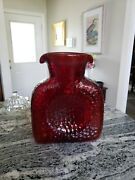 Art Glass Double Spout Water Bottle Ruby Pebble Textured Handcrafted
