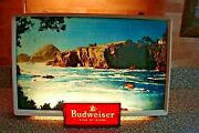 Rare 1950and039s Budweiser Ocean Scenic View Lighted Beer Sign