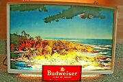 Rare 1950and039s Budweiser Lighted Scenic Ocean View Beer Sign