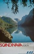 Sas Airlines Scandinavia Different Europe Norway Travel Poster 1968 25x40