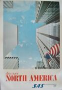 Sas Airlines Discover North America Vintage Travel Poster 1968 Nm 25x40 Linen