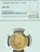 .900 Gold 1840 A France 20 Francs Km 750.1 Louis Philippe I Nice Ngc Xf45