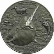 Narwhal Unicorn Of The Sea 2015 Silver Partial Proof High Relief Horn Coa