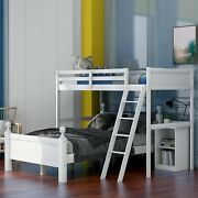 Twin Over Full Bunk Bed Wood Loft Bed With Storage Cabinets Platform Bed Frames