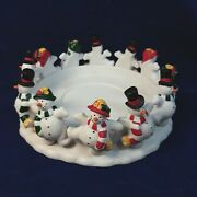 Partylite Frolicking Frostys Snowman 3-wick Candle Holder Or Small Tree Base