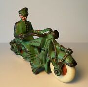 Vintage Cast Iron Green Champion Police Motorcycle 7