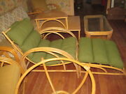 12 Piece Set Ficks Reed Vintage Rattan Furniture Chairs Sofa Tables Mcm Bamboo
