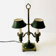 Antique French Bouillotte Brass Lamp W Tole Shade By Horn And Brannen C. 1910