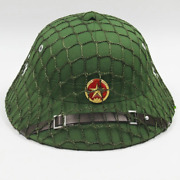 Vietcong Vc Pith Helmet Hat Green Colour With Red Star Badge Helmet Net New
