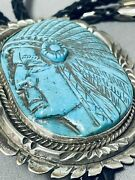 Completely Hand Carved Vintage Sterling Silver Turquoise Bolo Tie