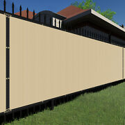Beige 480gsm 6ft Privacy Screen Fence Commercial Windscreen Mesh Cover