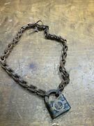 Antique Large Brass Yale Rr Padlock Lock With Key And Chain Yandt Usa Vintage