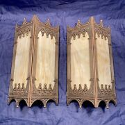 Wired Pair Antique Vintage Theater Sconces Art Deco Stained Glass Fixtures