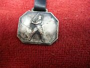 Vintage Baseball Player Watch Fob, Silver Plate With Leather Strap