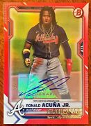 2021 Topps National Convention Silver Pack Ronald Acuna Red Bowman Auto /5 Ssp