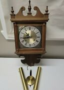 Vintage Hamilton 31 Day Pendulum Wooden Windup Wall Clock Untested For Parts